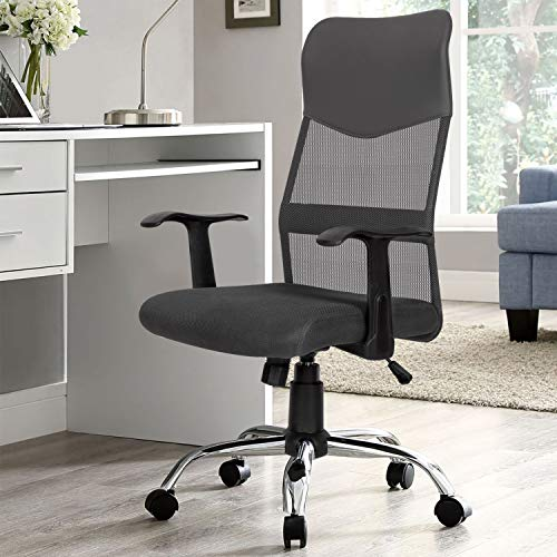 High Back Ergonomic Executive Office Chair,Upgraded Leather Thick Cushion Swivel Big and Tall Home Computer Chair with Armrests,Grey