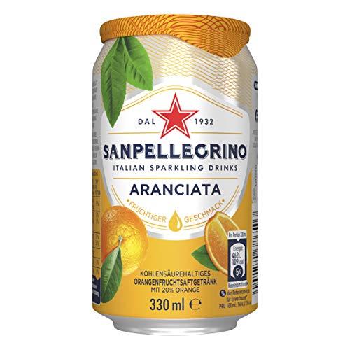Sanpellegrino   Orangen Limonade   Aranciata   Hoher Fruchtanteil 20{756dd66506abc59b89d6ba262252cb81c1cf64508d9d354d825c33975a81658d} frisch gepresster Orangen   Leicht herbe Geschmacksnote   Ideal für unterwegs   1er Pack (1 x 0,33l) Einweg Dose