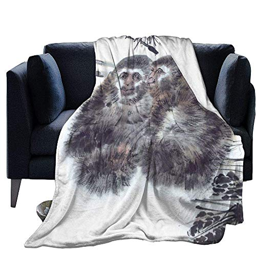 Blanket Warm Fleece Throw Cartoon Monkey Print Ultra-Soft Long-haired Faux Fur Winter Fluffy Sleeping