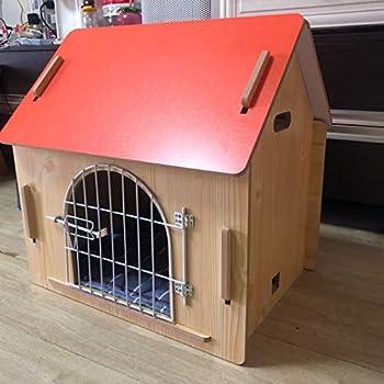 Cages et chenils Maison pour Animaux lit pour Animaux de Compagnie Villa pour Animaux de Compagnie Niche pour Chien en Plein air Litière pour Chat d'intérieur (Color : Pink, Size : 57 * 44 * 58.5cm)