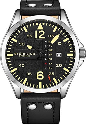 Stuhrling Original Reloj de cuero para hombre, reloj de aviación, fecha de día rápida, correa de cuero con remaches de acero, colección de relojes para hombre, Negro,