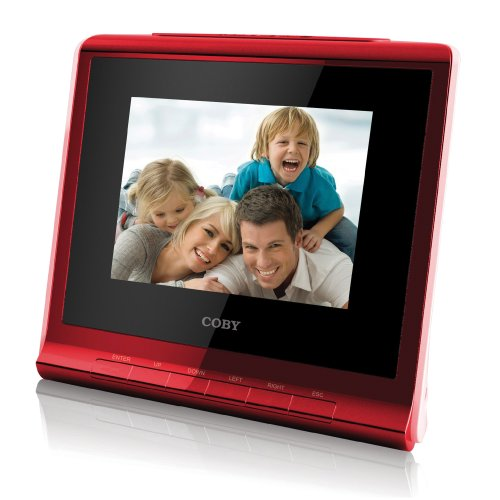 Coby DP356RED 3.5-Inch Digital Photo Frame with Alarm Clock, Red