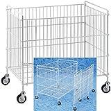 Carrito contenedor plegable de 600 x 400 x 650 mm en barra de hierro plastificado para lavanderías industriales, cesto expositor para ropa sucia con ruedas