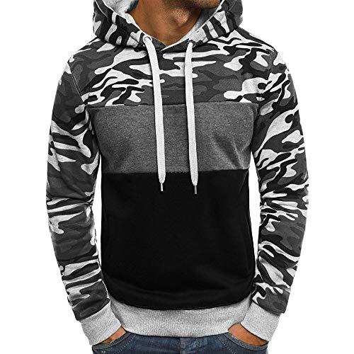 YanHoo Suéter de los Hombres Camuflaje de los Hombres con Capucha suéter de Manga Larga Top Camuflaje para Hombre Talla Grande Pullover Sudadera con Capucha de Manga Larga Tops Blusa