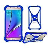 Lankashi Blau Silikon Schutz Tasche Hülle Hülle Ring Halter Ständ Cover Handy Etui Handyhülle Handytasche Für Phicomm Energy M+ 3+ L Passion 4s Brondi 620 SZ 730 Mobistel T6 T8 F3 F4 F5 F6 Universal