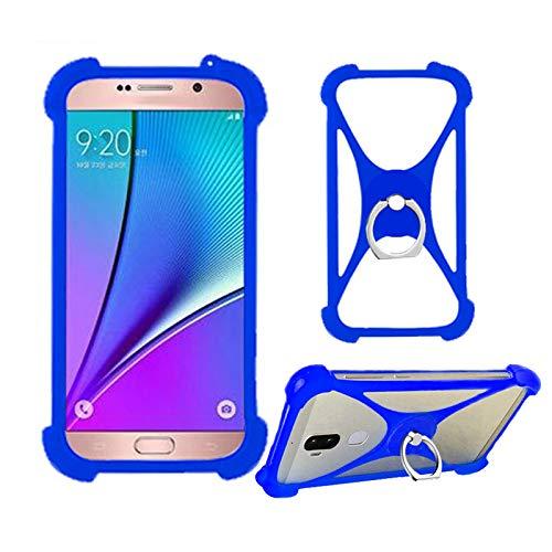 Lankashi Blau Silikon Schutz Tasche Hülle Case Ring Halter Ständ Cover Handy Etui Handyhülle Handytasche Für Phicomm Energy M+ 3+ L Passion 4s Brondi 620 SZ 730 Mobistel T6 T8 F3 F4 F5 F6 Universal