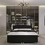 INNOCENT® - P4 | Boxspringbett 160x200 in Schwarz PU | 3D-Air 6cm Topper | Bonell-Federkernmatratze | H2 Härtegrad | Boxbett für Hotels | HB00