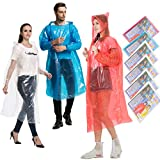 HLKZONE Disposable Rain Ponchos for Adults, 6 Pack Bulk Extra Thick Emergency Waterproof Raincoats with Hood Plastic Clear Travel Rain Gear for Concerts, Amusement Parks, Camping