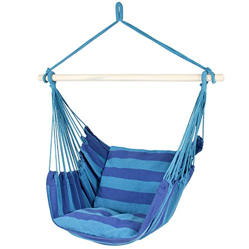 Best Choice Products Hammock Hanging Rope Chair Porch Swing Seat Patio Camping Portable - Blue Stripe