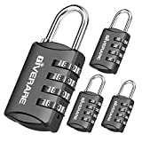 GIVERARE 4 Pack Combination Lock, 4-Digit Padlock Keyless, Resettable Luggage Locks for Backpack, Gym & School & Employee Locker, Weatherproof Travel Lock for Fence, Backyard Gate, Hasp, Case-Black