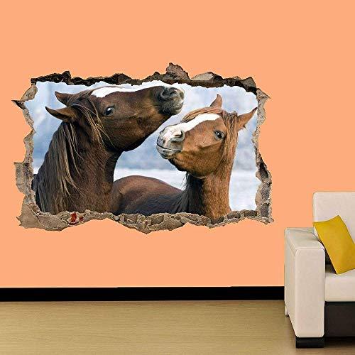 PEGATINA PARED DOS CABALLOS JUGANDO VINILO DECORACION HABITACION MURAL UNA CLASE mural calcomanía Decal Print 60x90cm