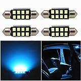 WLJH Lot de 4 ampoules LED navette bleu glacier 39 mm super lumineuses 400 lumens CANBUS 8 SMD 2835 chipsets 6413 6429 LED 3423 38mm 39mm ampoules lumières d'intérieur de voiture