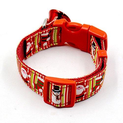 SSITG Kerstmis huisdier halsband hondenhalsband instelbaar halsband met bel rood L