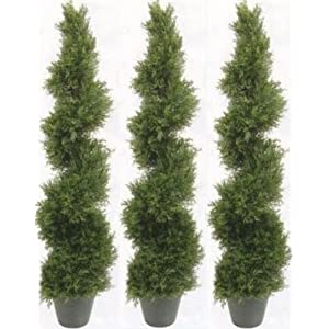 Three 4 Foot 2 Inch Artificial Cypress Spiral Topiary Tree
