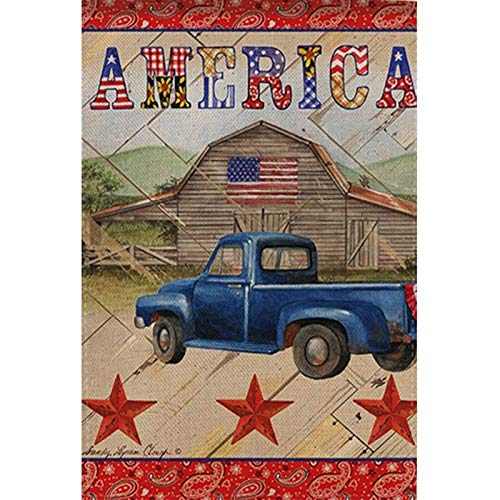 DIY 5D Diamond Painting by Number Kit,Diamond Painting Kits for Adults and Beginner for Home Decor American Flag with Truck 11.8x15.7 in by Sunshin