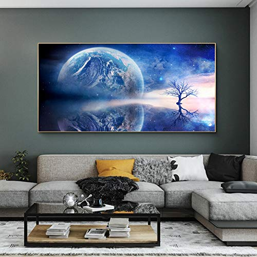 wZUN Carteles e Impresiones de Pintura al óleo de reflexión de la Tierra y el árbol en Lienzo imágenes artísticas de Pared escandinavas decoración del hogar 50x100 cm