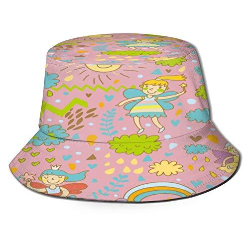 PUIO Sombrero de Pesca,Hadas de Patrones sin Fisuras Brillantes Infantiles en,Senderismo para Hombres y Mujeres al Aire Libre Sombrero de Cubo Sombrero para el Sol