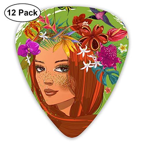 Gitaar Pick Olie Schilderij Meisje 12 Stuk Gitaar Paddle Set Gemaakt Van Milieubescherming ABS Materiaal, Geschikt voor Gitaren, Quads, Etc