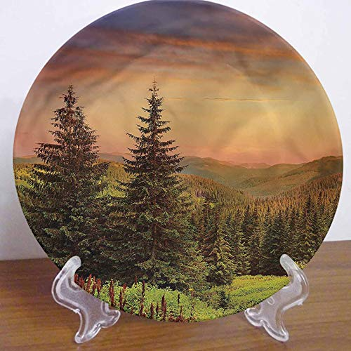 LCGGDB 8 Inch Forest Pattern Ceramic Decorative Plate,Fir Trees Pines Spruce Hills Dinner Plate Decor Accessory for Dining, Parties, Wedding