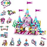 Holiky Girl Toys for 6-12 Years Old, STEM Princess Castle Building Stacking Block Sets for Kid's Basic Skills Learning and Development,25-in-1 Pink Palace Bricks Gifts for Toddlers