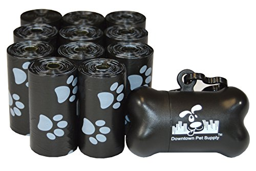 220 Pet Waste Bags, Dog Waste Bags, Bulk Poop Bags on a roll, Clean up poop bag refills - (Color: Black with Paw Prints) + FREE Bone Dispenser, by Downtown Pet Supply