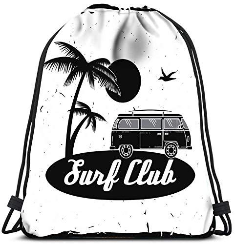 N / A Mochila con cordón Surf Club Concept Yoga Runner Daypack Mochila Bolsas 36 x 43cm / 14.2 x 16.9 Pulgadas