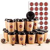 Calendario Dell'Avvento Bicchieri da caffè, 24 Bicchierini Caffe, Bicchieri Caffe Asporto con Coperchio 400ml, 24 Adesivi Numerati, Usati per la Decorazione e Calendario Dell'Avvento Fai-da-Te (Red)
