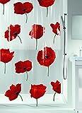 Spirella Anti-Schimmel Duschvorhang Poppy Cinnabar Anti-Bakteriell, waschbar, wasserdicht PVC 180x200cm