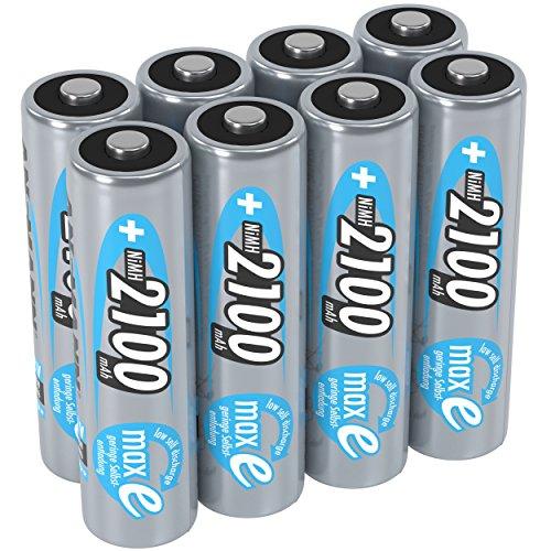 ANSMANN Akku AA 2100 mAh NiMH 1,2 V (8 Stück) - Mignon AA Batterien wiederaufladbar, maxE geringe Selbstentladung für jahrelangen Einsatz