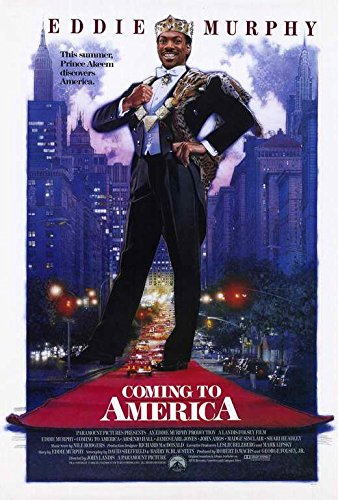 Blueline Coming to America Movie Poster 27' x 40', Eddie Murphy, Arsenio Hall, A, Made in The U.S.A.