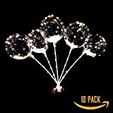 Negoo LED Bobo Balloons,a combination of four colors New 10 Packs,20 Inches Transparent Bubble Balloons,60 cm Sticks, Christmas Birthday Party weeding Decoration