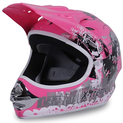 Actionbikes Motors Motorradhelm Kinder Cross Helme Sturzhelm Schutzhelm Helm für Motorrad Kinderquad und Crossbike in pink (Small)