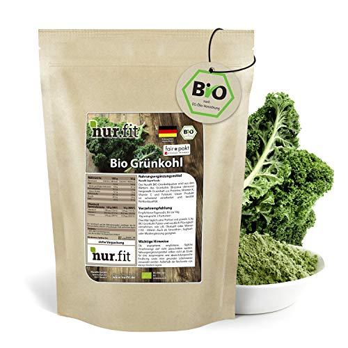 nur.fit by Nurafit BIO Grünkohlpulver 1kg – veganes Gemüsepulver aus getrocknetem Grünkohl in Rohkostqualität aus kontrolliert biologischem Anbau – für Smoothies, Bowls, Shots