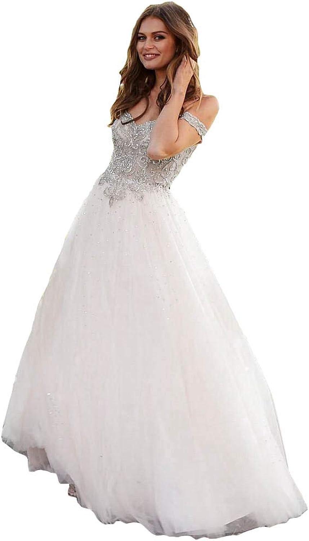 LiBridal Women's Cold Shoulder Fomal Wedding Dresses Beaded Long Maxi Bridesmaid Evening Gowns