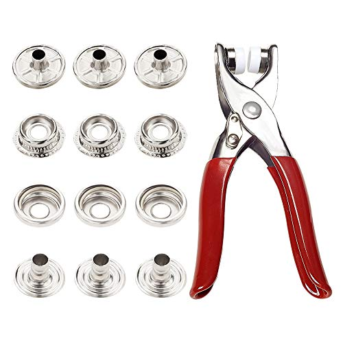 PH PandaHall Snap Fastener Pliers Kit, Grommet Eyelet Setter Pliers and 0.45' /0.55' Metal Snaps Buttons for Fastening, Replacing Metal Snaps, Repairing Boat Covers, Canvas (30sets)