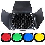 Market&YCY BD-04 Barn Door + griglia a nido d' ape con 4 filtri colorati per flash da studio luce 55 gradi riflettore standard Bowens cover