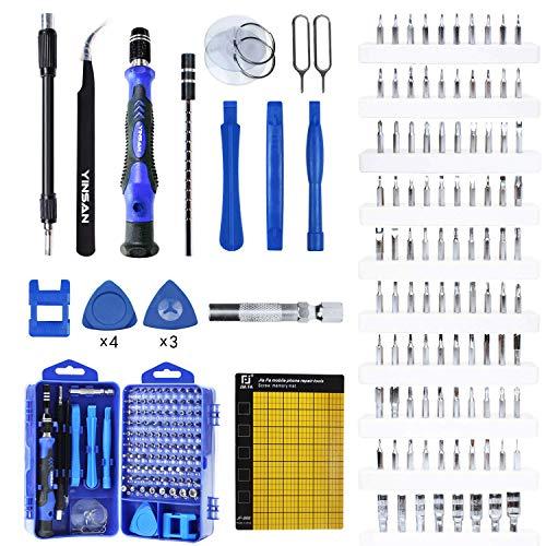 YINSAN 119 in 1 Set Cacciaviti Precisione Magnetici Professionali, Kit Cacciavite di Riparazione Portatile per Orologio, Occhiali, iPhone, iPad, Smartphone, PC, Laptop, Tablet, Elettronica ecc.
