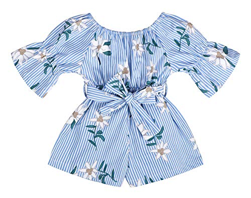 AmzBarley Toddler Baby Girls Summer Clothes Floral Romper Jumpsuit Overall Kids Ruffle Off-Shoulder Outfits Short Trousers Holiday Playwear Dress Blue Size 4-5Years/Tag 120