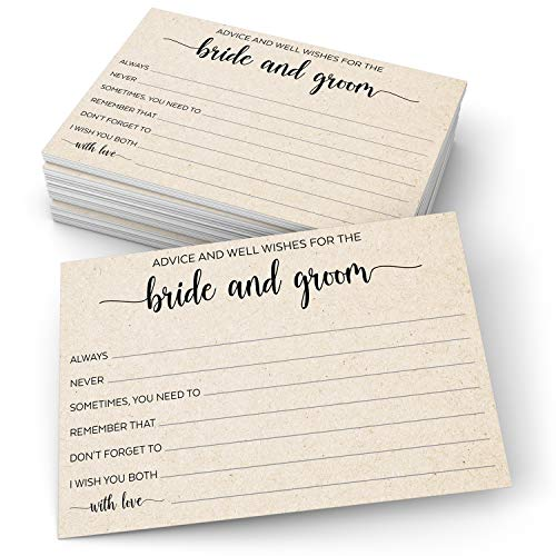 """321Done Advice and Wishes for The Bride and Groom Cards (50 Cards) 4"""" x 6"""" for Wedding with Prompts Simple Elegant - Made in USA, Kraft Tan"""