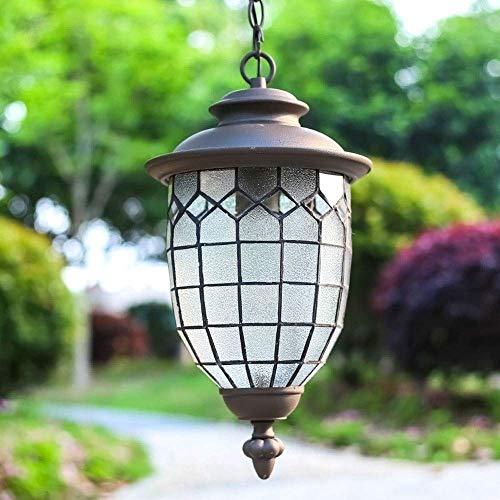 ZAKRLYB E27 retro del pasillo del jardín de aluminio de la lámpara, iluminación de techo impermeable Europea accesorios de decoración, al aire libre a prueba de herrumbre Patio Luz Suspensión