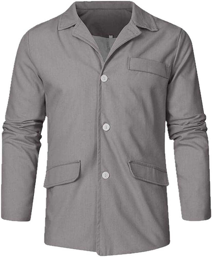 Men's Long Sleeve Coat Color Casual Lapel Single-Breasted Men's Streetwear