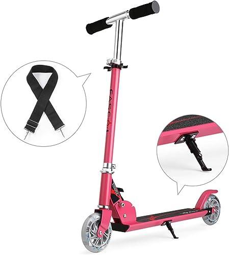 Fascol Klappbar Kinder Scooter Tretroller Cityroller für Kinder 3-13 Jahre Belastbarkeit bis 50 kg, Leuchtr r und h nverstellbarer, Rosa