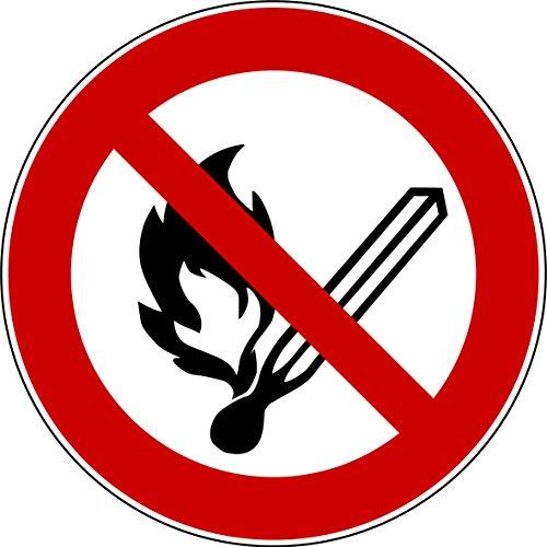 10 Aufkleber Keine offene Flamme, Feuer, offene Zündquelle und Rauchen verboten Aufkleber (10 Stück) vorgestanzt, selbstklebend,Verbotszeichen Arbeitssicherheit Feuer-Aufkleber P003 Arbeitsschutz