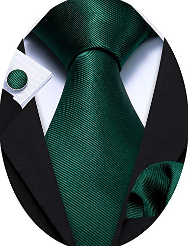 Barry.Wang Emerald Green Necktie Set Solid Handkerchief Cufflinks Silk Ties for Men Formal St. Patrick's Day