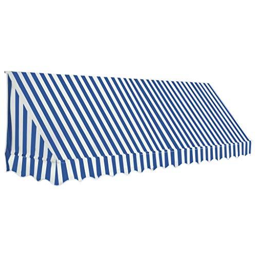 vidaXL Auvent de Bistro Porte 350x120 cm Bleu et Blanc Store Abri Soleil Ombre