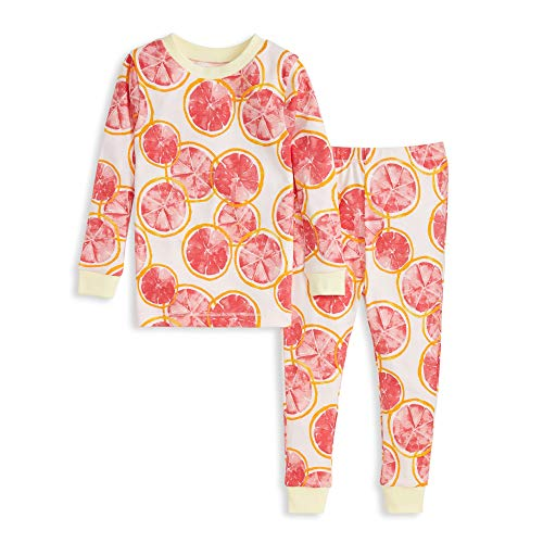 Burt#039s Bees Baby Baby Girls#039 Pajamas Tee and Pant 2Piece PJ Set 100% Organic Cotton Grapefruits 3T