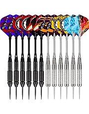 WIN.MAX Dartpijlen, 12 stuks stalen dartpijlen, 24 gram professionele steeldarts met metalen punt, darts staal, dartpijl, dartpijl, aluminium schacht, 30 flights, 50 rubberen ringen
