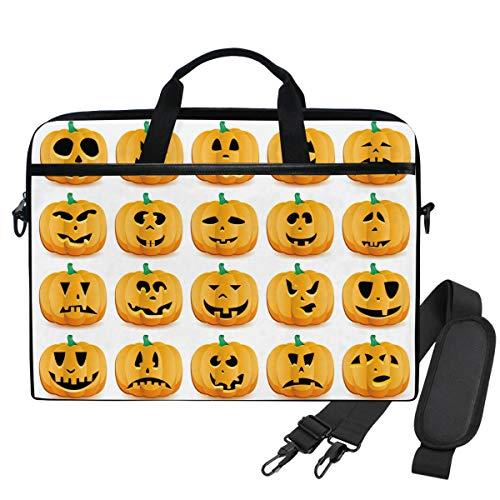 Emoya-Laptopn-Tasche für Halloween, Kürbis-Emoji, Laptop, Schultertasche, kompatibel mit 13,3-14 Zoll