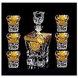 HLR Vasos de Whisky Jarra de Whisky Decantador de Cristal y Copa de Whisky de Cristal, Traje de Vino Rojo Creativo 630 ml / 290 ml de 7 Piezas fijadas