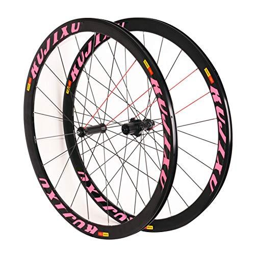 ZNND Carretera Bicicleta Rueda 700C,Ruedas de Ciclismo Rueda Trasera Radios Redondos Frente 20 Trasero 24 Hoyos Llanta de Aleación de Aluminio (Color : Pink)